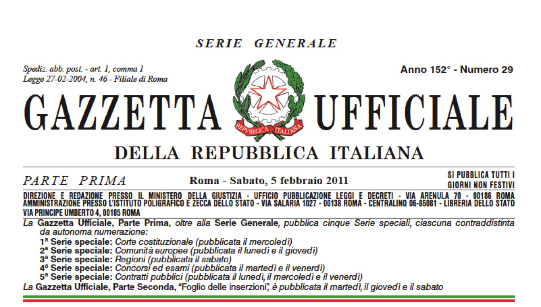 Gazzetta Ufficiale Dicembre 2016